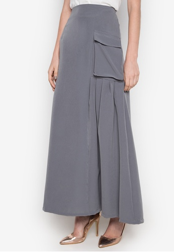 NEW ESSENTIALS grey Dennis Lustico Pleated Pocket Skirt NE239AA0JD1YPH_1