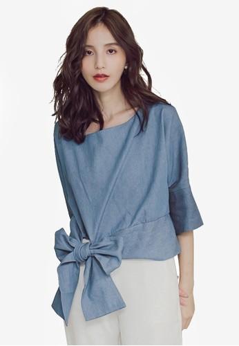 Yoco blue Tie-Front Elbow-Length Top 6C0C1AA5670167GS_1
