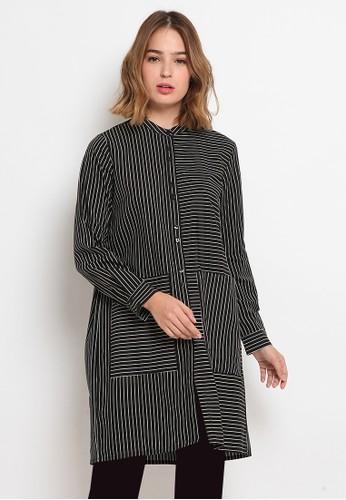 The Executive black Long Sleeve Stripes Tunic 96048AA14632F5GS_1