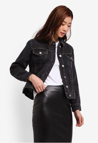 Miss Selfridge black Petites Stud Denim Jacket MI665AA0RV23MY_1