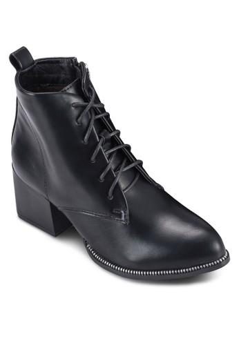 繫帶尖頭粗跟騎士短靴, 女鞋,esprit hk 鞋