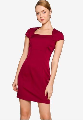 ZALORA WORK 紅色 短袖方領洋裝 D54DDAA2B8C21DGS_1