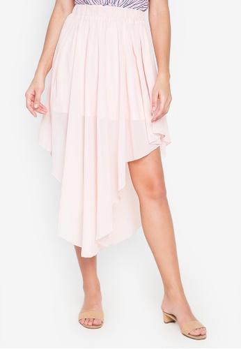 Kamiseta pink Glecy Layered Asymmetrical Skirt 4C1B7AA09FD066GS_1