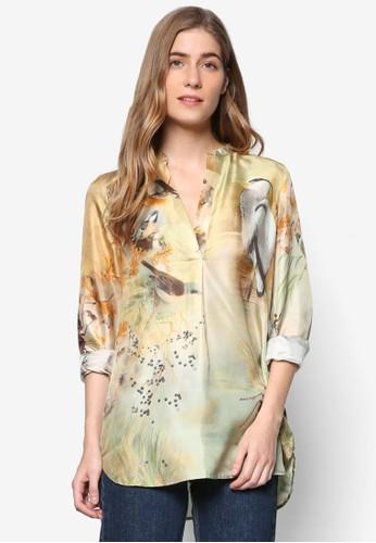 印花綢緞長袖上衣,zalora開箱 服飾, 上衣