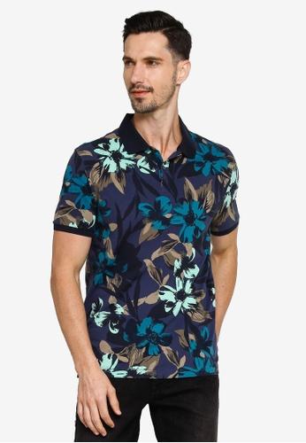 Banana Republic navy Printed Pique Polo Shirt AAFF2AA2707749GS_1