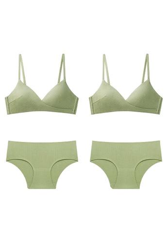 K.Excellence green Premium Comforn Green&green Lingerie Set (Bra and Underwear) E5CBBUS897ED42GS_1