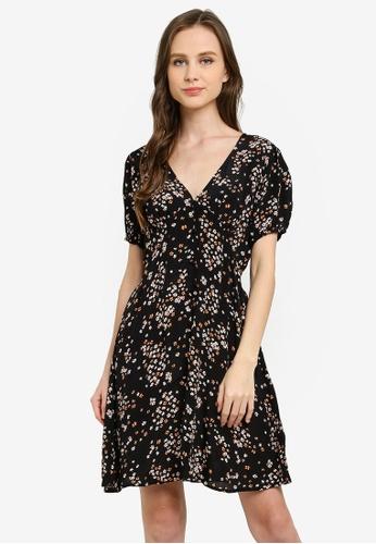 Cotton On black Woven Essential Button Front Mini Dress F32B6AA02E91FAGS_1