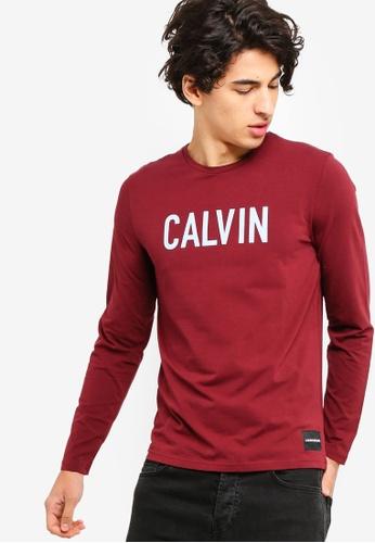 Calvin Klein 褐色 長袖Institutional LOGO修身T恤 - Calvin Klein 牛仔褲 9A724AA2C9D78BGS_1