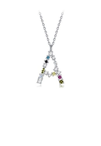 Glamorousky silver 925 Sterling Silver Fashion Simple Color English Alphabet A Pendant with Cubic Zirconia and Necklace 37594AC871EEF9GS_1