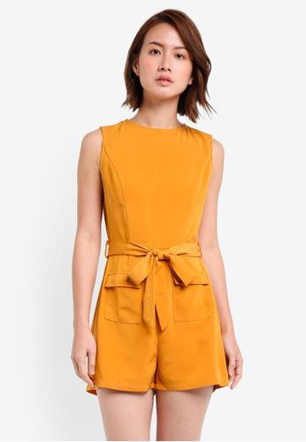 ZALORA yellow Playsuits With Utility Pocket 16B7FAA5CF3770GS_1