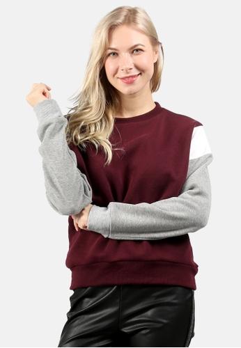 London Rag red Color Block Sweatshirt 6B42DAA907CCFBGS_1