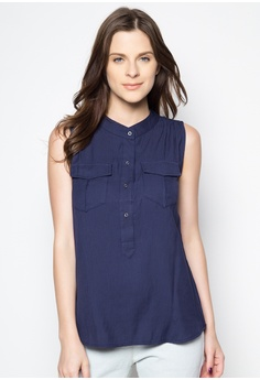 50b03d5680ddd1 Caoros blue Sleeveless Blouse with Front Top Button 27622AAA68B6E3GS 1