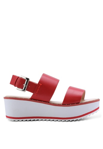Nose red Two Strap Studded Wedge Sandals NO327SH28IKHMY_1