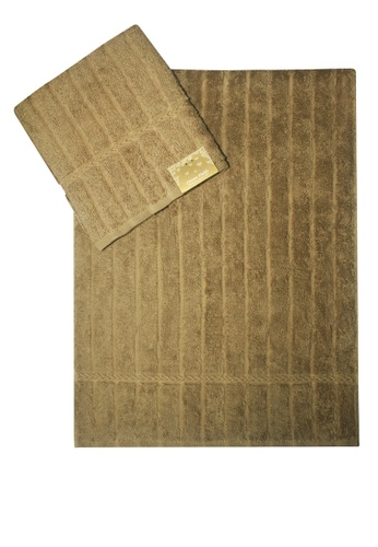 Cotton Fields brown Cotton Fields Hand Towel Stripes CE368HL7AC32E4GS_1