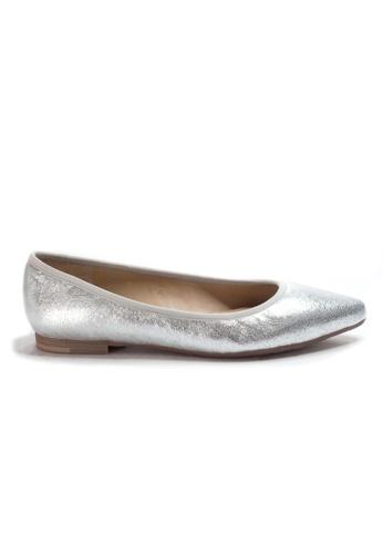 Shu Talk 銀色 時尚簡單金屬色尖頭平底鞋 A5855SHD93F35DGS_1