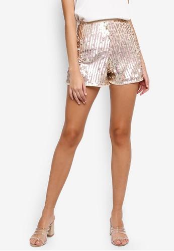 Miss Selfridge pink Irrdescent Sequin Shorts 7C8B6AA6D12840GS_1