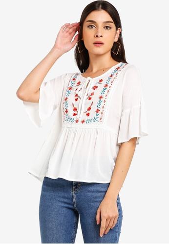 ZALORA white Embroidered Relax Top 6EF37AA196981EGS_1