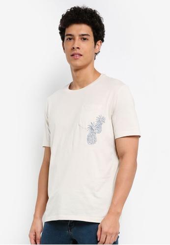 MANGO Man 白色 短袖口袋刺繡T恤 DC0FBAA8ABACE7GS_1