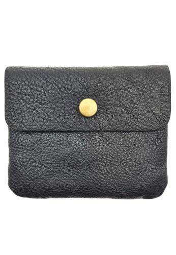 LUXORA black The Ninja Co. Compact Wallet - Full Grain Leather Cowhide - Coin Card Zipper Purse Men Women Gift Black 579DFAC1881EEEGS_1