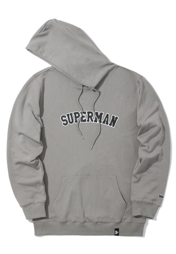 BLOCKAIT grey X Superman arch logo hoodie DF2EAAA79A754FGS_1