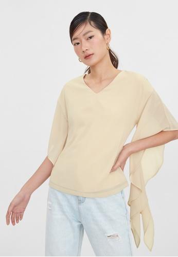 Pomelo beige Flounce Sleeve Blouse - Beige 9B0EFAAF32D00FGS_1
