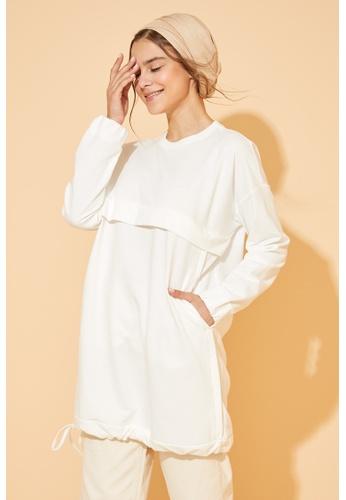 DeFacto beige Long Sleeve Sweatshirt Tunic EE41EAAE2A7AF7GS_1