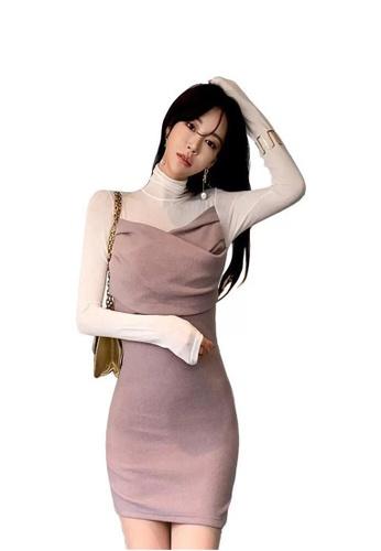 Crystal Korea Fashion pink New Fake Two-piece Slim Knit Dress 1BCB6AA9645B1CGS_1