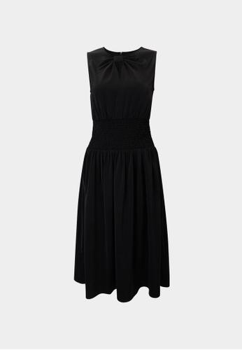Pomelo black Bow Neck Elastic Waist Dress - Black B2FDFAA5435261GS_1