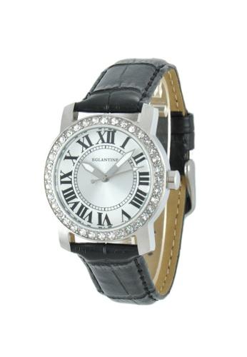 EGLANTINE silver EGLANTINE® Emily Ladies Steel Quartz Watch Paved with Crystals on Black Leather Strap 410E8AC8AB8A85GS_1