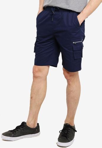 ZALORA BASICS navy Multi Pockets Utility Jogger Shorts E7AFFAABED47DEGS_1