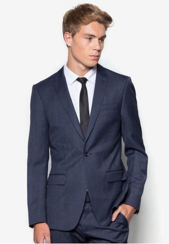 暗紋羊毛混紡西裝外zalora 心得 ptt套, 服飾, 西裝外套