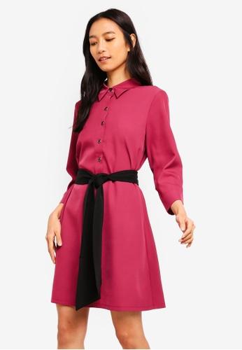 ZALORA pink Shirt Dress With Self Tie DA729AAD9CEBF7GS_1