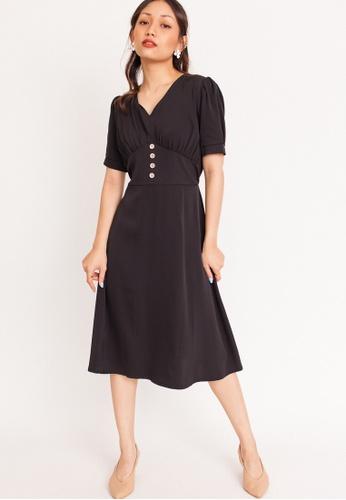 Hook Clothing black Button Flare Midi Dress 8D236AAA44E151GS_1