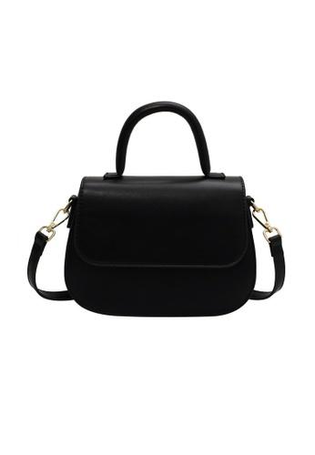 Lara black Women's Plain Leather Flap Magnetic Buckle Cross-body Bag - Black AEA74AC6042937GS_1