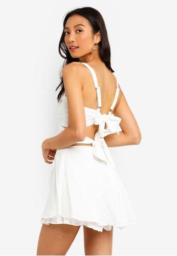 INDIKAH white Tie Back Skort Style Textured Playsuit 90CC1AA6398B7CGS_1