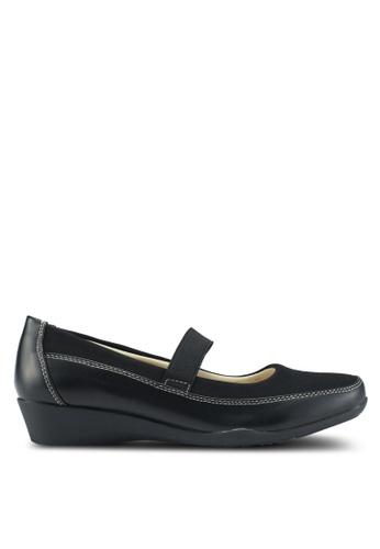 Bata 黑色 舒適繞帶楔型鞋 3DAF7SH8B54D8EGS_1
