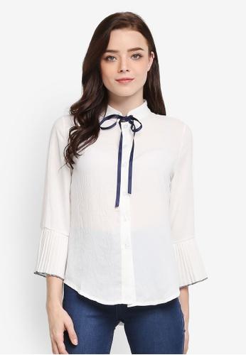 BYN white Plain Pleated Sleeve Top 83317AAA609DD4GS_1