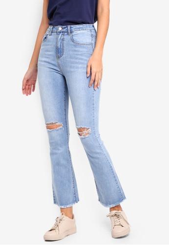 ZALORA blue Ripped Knee Flare Leg Jeans 6FBAAAAF6FF3ADGS_1
