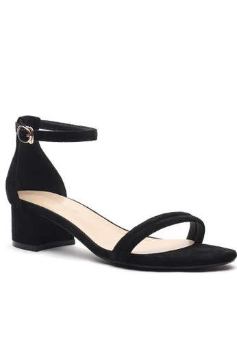 Twenty Eight Shoes black Girly Ankle Strap Heeled Sandals 320-16 6C64ASH28EE665GS_1