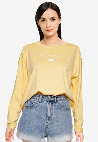 Old Navy yellow Long-Sleeve Logo Graphic Easy T-Shirt E4560AAEFE258AGS_1