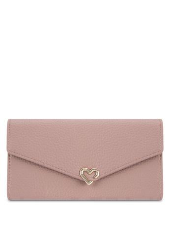 Velvet pink Heart Detail Long Wallet BA121ZZ3DBED68GS_1