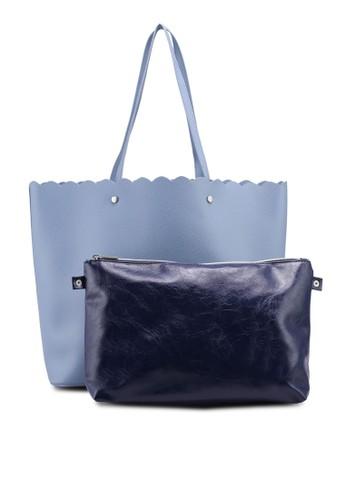 OVS blue Textured Shopping Bag With Studs 7D2D3AC39906C0GS_1