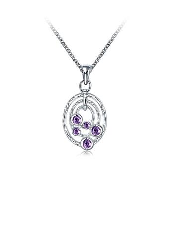 Glamorousky purple Classic Fashion Geometric Round Pendant with Purple Cubic Zirconia and Necklace D18B9AC7C5E818GS_1