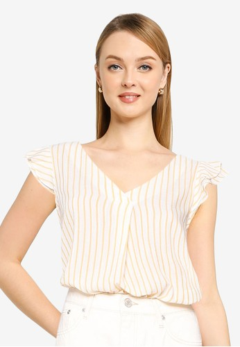 Springfield yellow Striped Blouse With Ruffle Sleeves 167FFAA8E29892GS_1