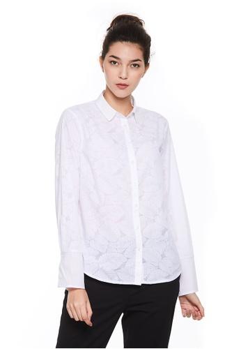 Sisley white Long Sleeves Shirt. BED07AAF5726FBGS_1