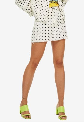 TOPSHOP white Petite Polka Dot Denim Skirt B0832AAAE4FEAEGS_1