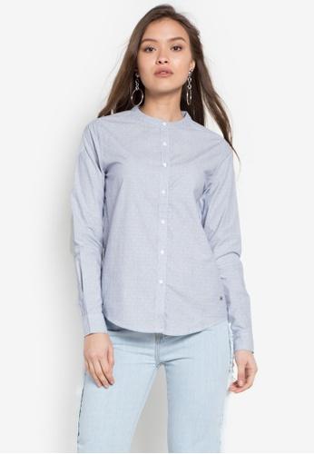 Stylistic Mr. Lee blue Long Sleeves Pin Stripes Chinese Collar Shirt MR206AA0KEU3PH_1