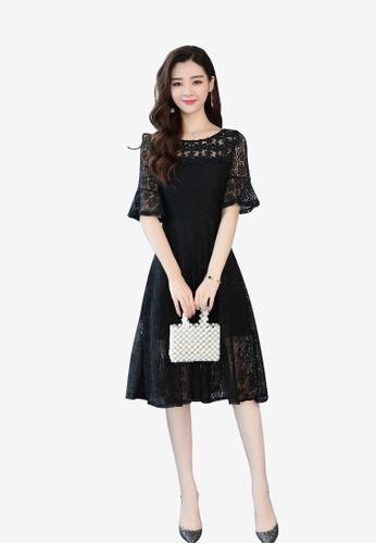 hk-ehunter black Flare Sleeves Lace Dress EA893AAE554579GS_1
