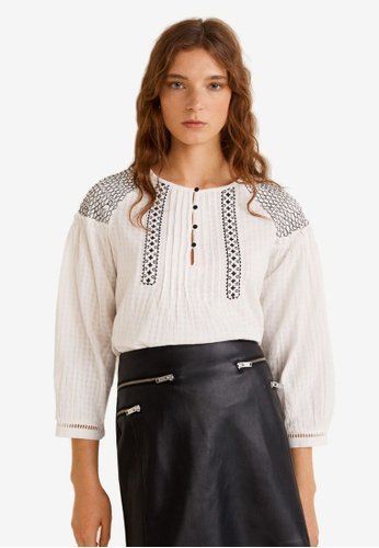 Mango white Embroidered Cotton Blouse 8914AAABC94A77GS_1