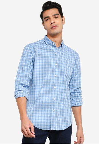 ABERCROMBIE & FITCH blue Check Signature Poplin Shirt FE392AAA1B5250GS_1